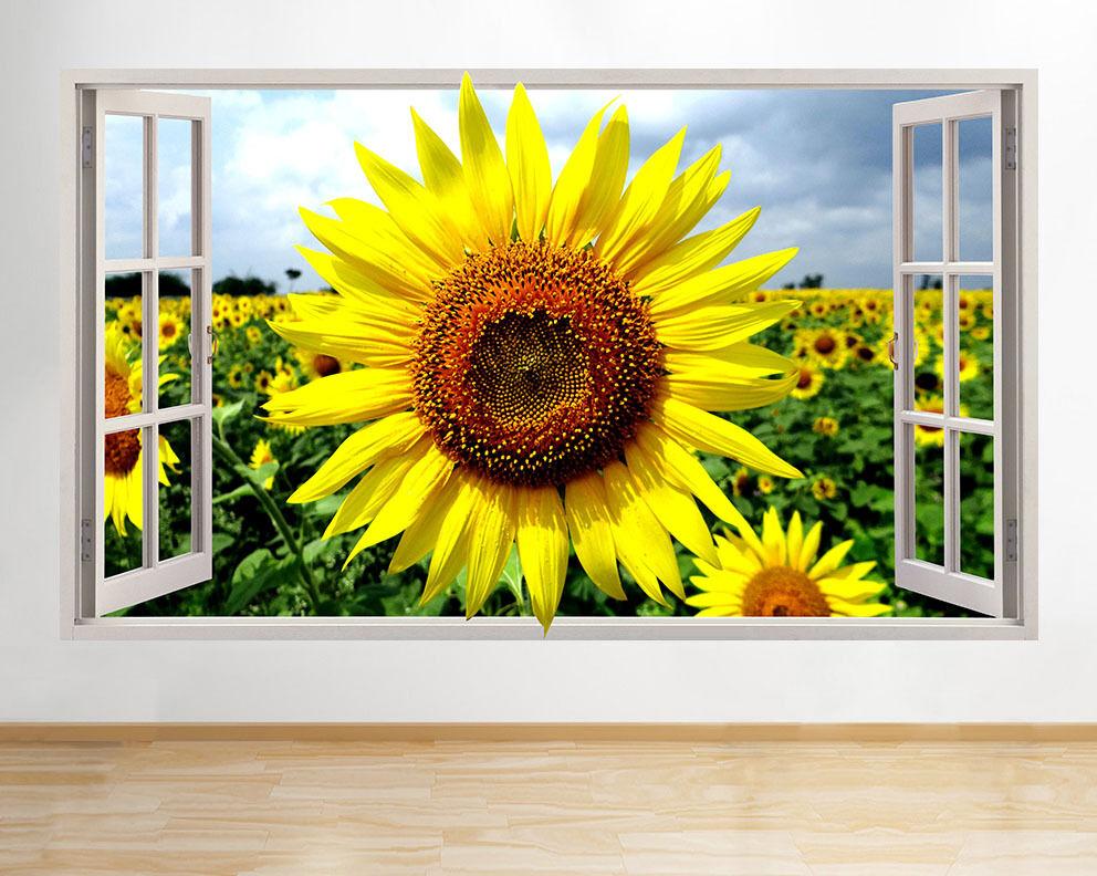 C899 Sun Flowers Summer Sun Hall Fenêtre m Autocollant Chambre 3D Vinyle enfants