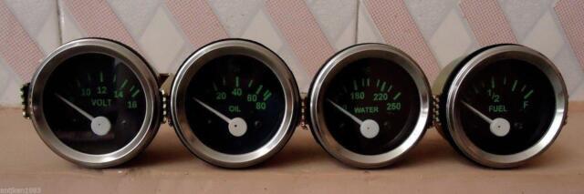 2'' /52mm Electrical Oil Pressure Temperature Volt Fuel Gauge -Black/ Green
