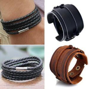 Men-Handmade-Multilayer-Weave-Leather-Punk-Bracelet-Bangle-Wristband-Jewelry-New
