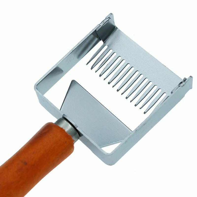Honey Uncapping Fork Iron Honeycomb Honey Scraper Wooden Handle Bee Hive Tool