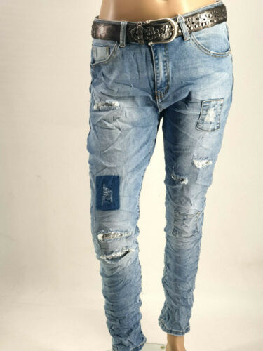 Neu 2020 Coole JEWELLY Jeans Baggy Boyfriend Destroyed Risse Flicken Gr.34-42