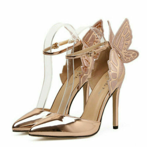 Details about  /Ladies Butterfly Embroidered Shies Heel Strappy Buckle Women Pumps Wedding Shoes