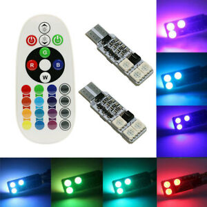 2-Led-T10-Lampade-RGB-6-SMD-Bianco-interno-telecomando-luce-Auto-5W-Multicolore