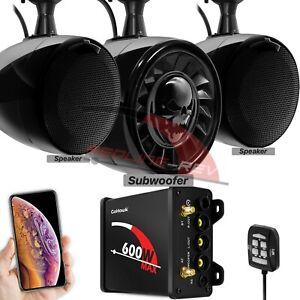 600W-Amp-Bluetooth-Waterproof-ATV-UTV-RZR-Polaris-Stereo-3-Speakers-Audio-System