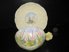RARE VINTAGE PARAGON CHINA DOUBLE FLOWER HANDLE CABINET CUP SAUCER DUO  DECO