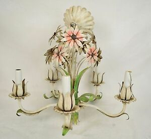 Italian-Tole-Chandelier-Flower-Floral-Candle-Electric-Lighting-5-Arm