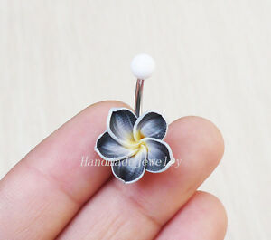 be358b3ad51f2 2pcs Plumeria Belly Button Ring belly button piercing navel ring ...