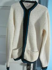LUXURY LINE USA 100% Wool Mens M Ladies L Cardigan SWEATER Jacket Knit Pockets