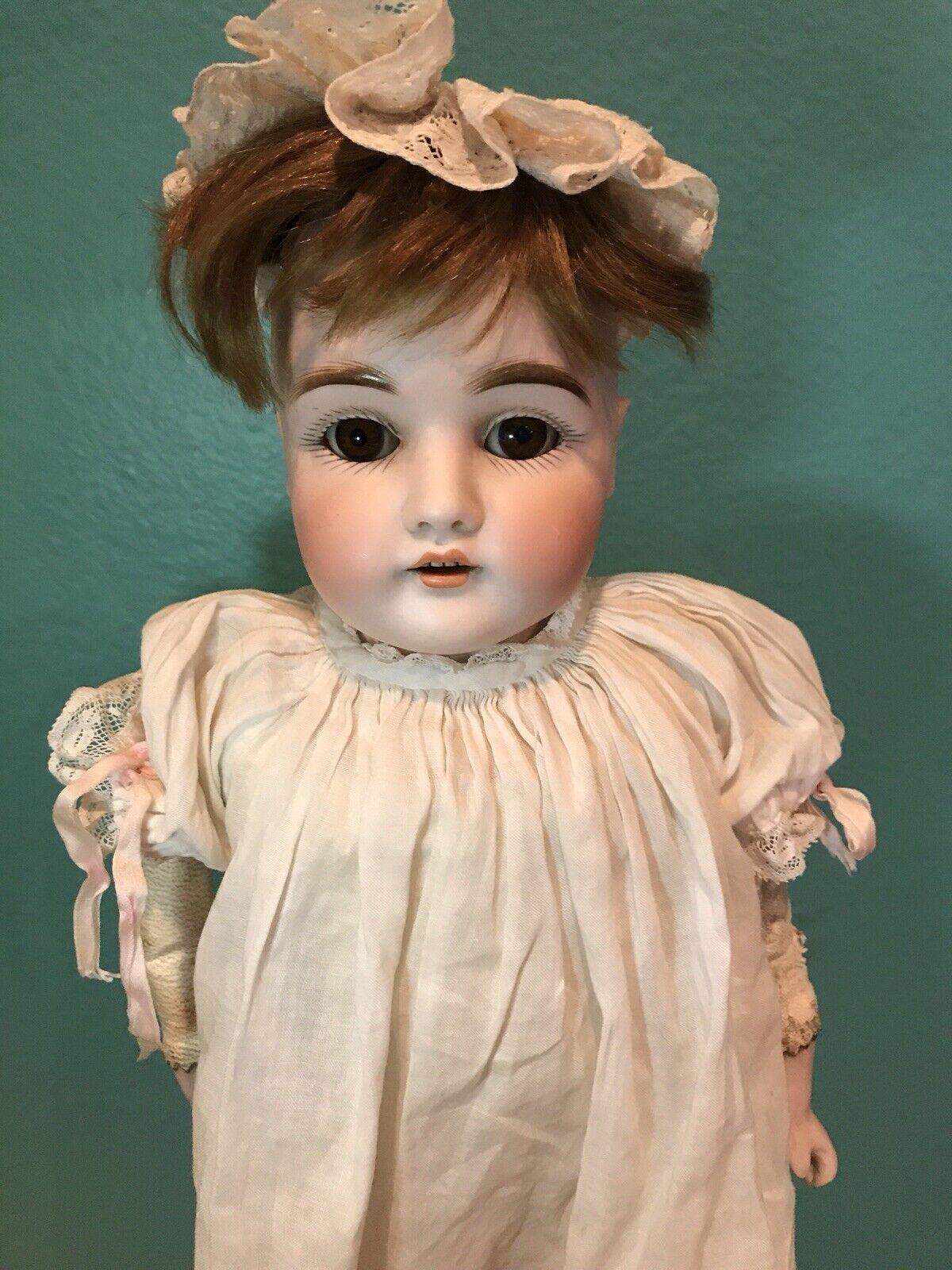 Raro Antiguo Alemán Dep Muñeca 16.5  cabeza de Biscuit marrón los ojos de sueño Modelo 154 5 1 2