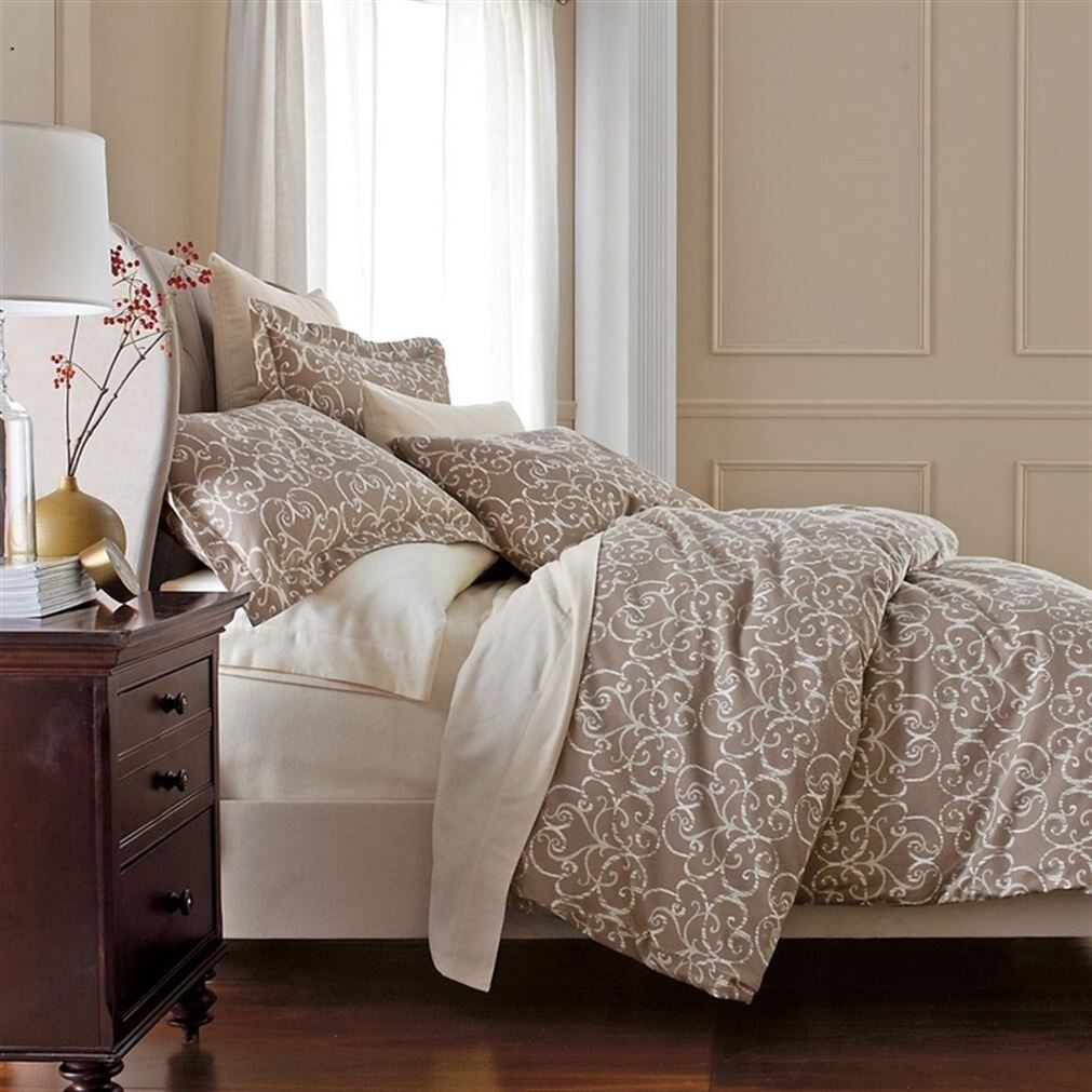The Company Store Comforter Cover Legends Luxury Townsend Scroll Sateen Flannel