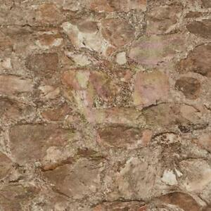 Wallpaper-Faux-Vinyl-Field-Stone-Rock-Taupe-Rust-Brown-Putty