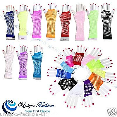 PAIR OF FISHNET GLOVES 80S HEN NIGHT STAG NIGHT FANCY DRESS COSTUME ACCESSORIES