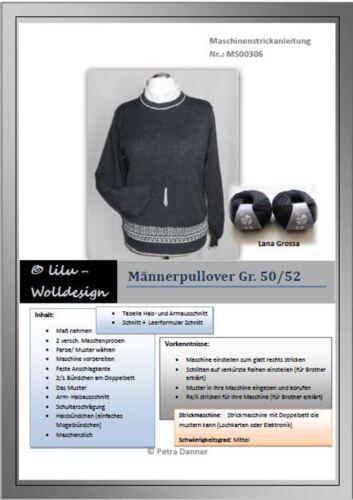 PDF Anleitung für Strickmaschine Männer Pullover mit Lana Grossa MS00307
