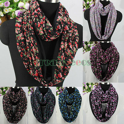 Fashion Women's Flowers Floral Print 2-Layer Splicing Chiffon Infinity Scarf New