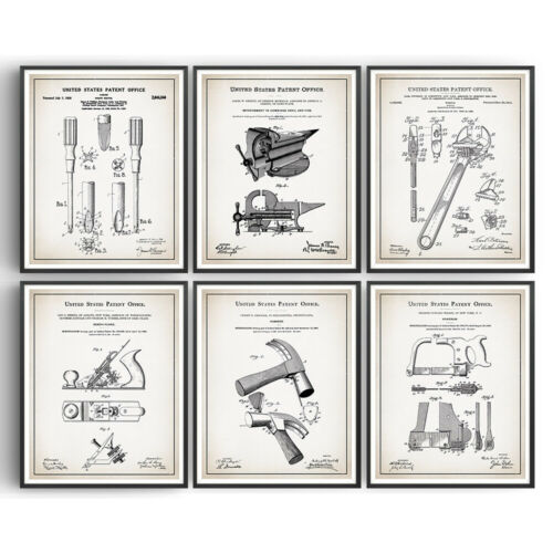 Tools Set of 6 Patent Prints Blueprint Decor Vintage Poster Art DIY Dad Gift