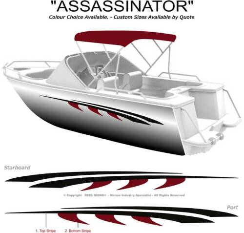 "BOAT GRAPHICS DECAL STICKER KIT /""ASSASSINATOR 1800/""  MARINE CAST VINYL"