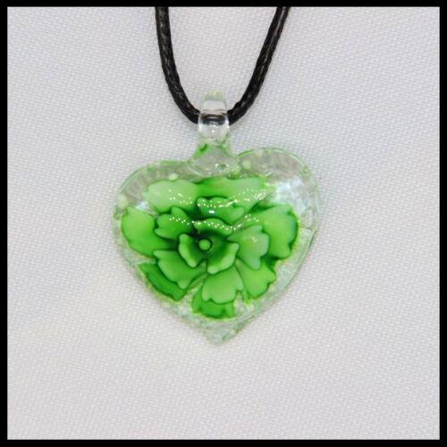 12 Pcs Fashion Women/'s Love lampwork Murano art glass beaded pendant necklace