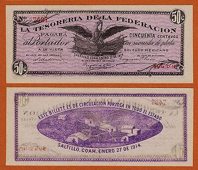 """Mexico Mexico 1914 """"la Tesoreria De La Federacion"""" 50 Centavos Pick-s644 Unc North & Central America"""