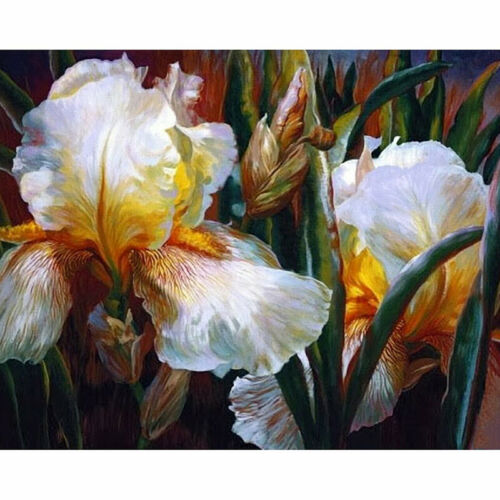 Full Drill Diamond Painting Kit Like Cross Stitch Irises Flowers Floral ZY229A