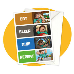 Steve-Eat-Sleep-Mine-Repeat-GREETING-CARD-Minecraft-personalized-personalised
