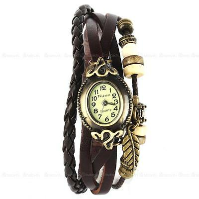 Steampunk Vintage Weave WRAP Around Leather Bracelet Lady Woman Wrist Watch