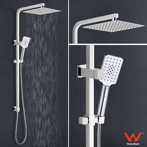 12 Inch Square Slim Rain Shower Head 3 Jet Hand Held Diverter Rail