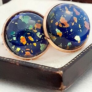 Vintage-Majestic-1950s-Blue-Glass-Fire-Opal-Rose-Gold-tone-Round-16mm-Cufflinks