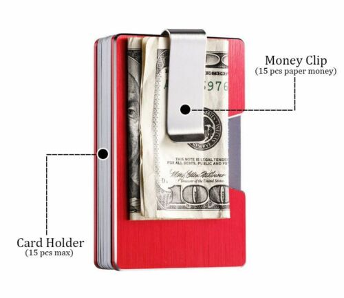 RFID Blocking Aluminum Holder Men Metal Wallet Credit Card Case Slim Money Clip