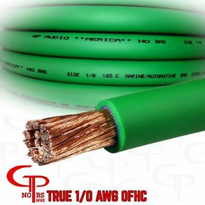 De S About 5 Ft True Awg 1 0 Gauge Copper Power Wire Green Ground Cable Gp Car Audio Usa