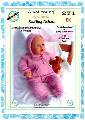 "DOLLS KNITTING PATTERN no 217 for //ANNABELL 18/""//19/"" doll by Val Young"