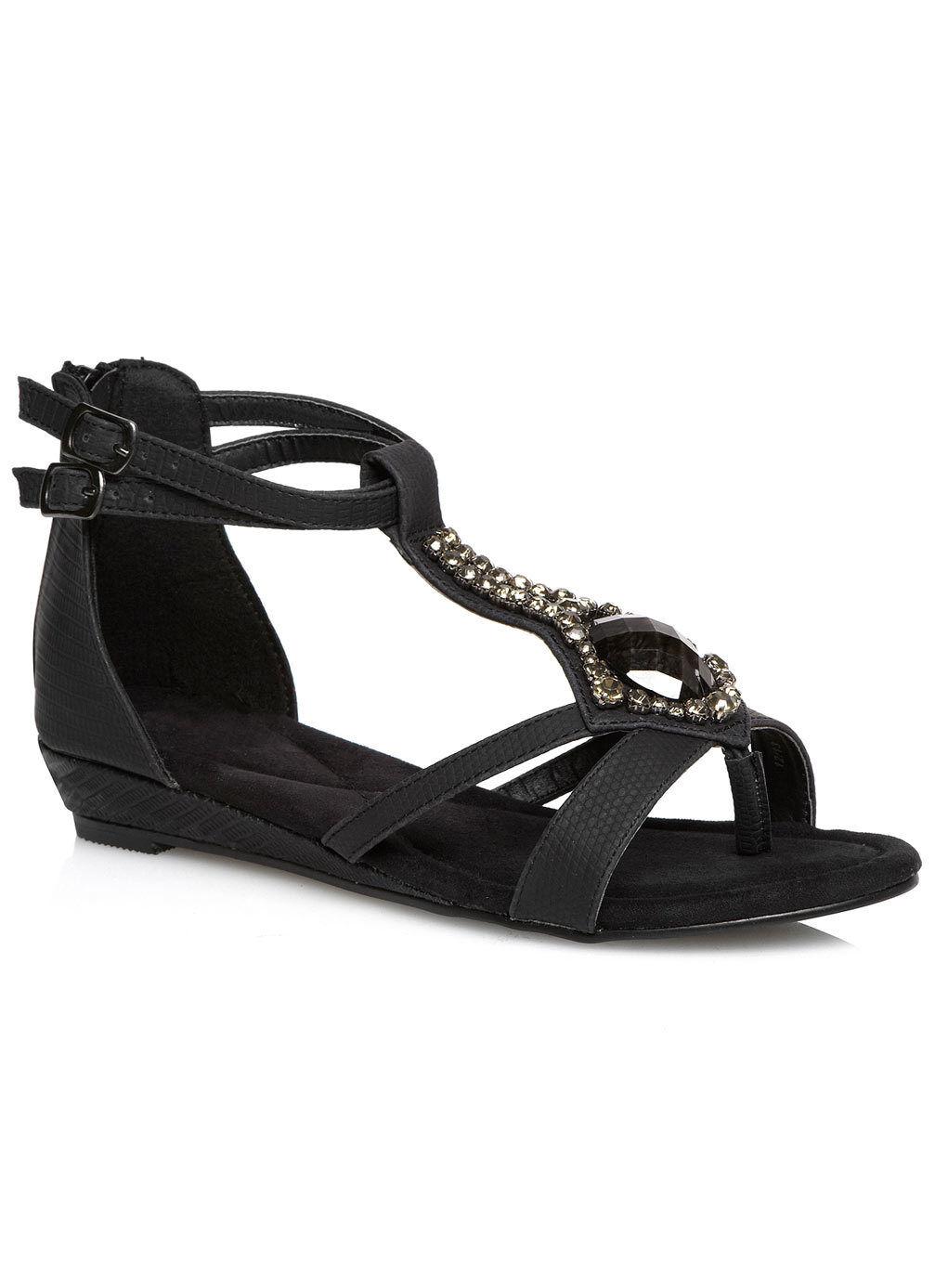 Sandalen Gr.41 Schwarz Strass Damen Weite G extra Weit Schuhe Zehentrenner Pumps