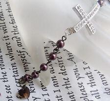 New Cocoa Brown Metal Bead Rhinestone Cross Crystal Heart Christian Bracelet
