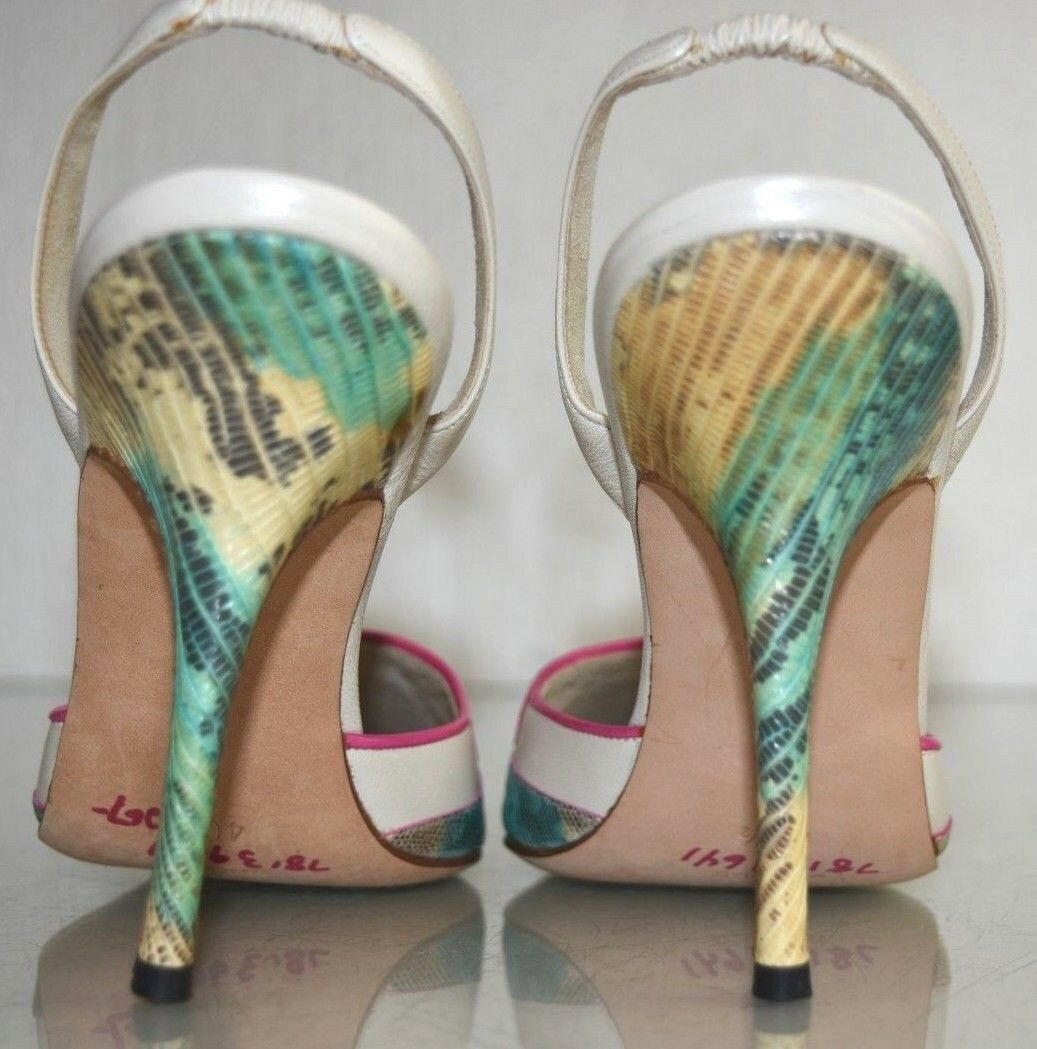 Neu Manolo Blahnik Carolyne Pumps Elfenbein Rosa Exotischer Lizard Lizard Lizard Skins Schuhe 46135c