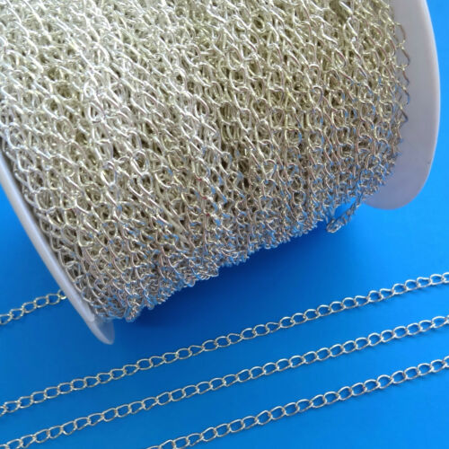 2M Silver Plated 4x6mm Continuous Curb Chain For Jewellery Making