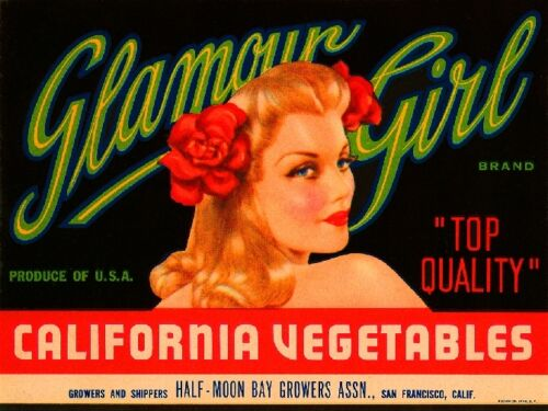 San Francisco California Glamour Girl Pin-Up Vegetable Crate Label Print