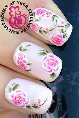 NAIL ART WRAP WATER STICKERS TRANSFERS DECALS PINK ROSE FLOWERS/BUTTERFLY #400