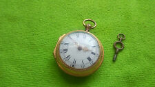 VERGE FUSEE MOVEMENT GOLD GILDED METAL POCKET WATCH FOLIATE ENGRAVED