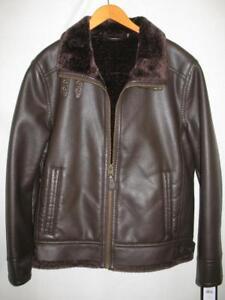 1bf58bbcd Black Rivet BK6AU848 Faux Leather Fur Lined Jacket Mens Med Lg NWT ...