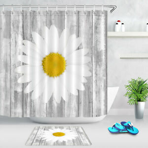 details about pretty daisy flower rustic wood planks waterproof fabric shower curtain set 72