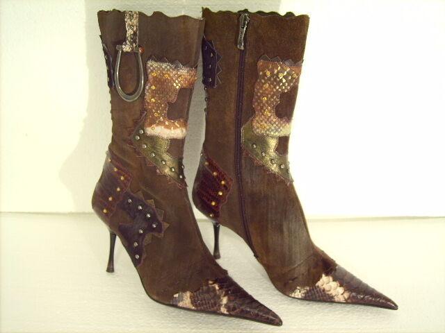 Am Dante elegante botas dunkelbraunes serraje con aplicaciones nuevo -