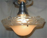 VTG 30S ART DECO BEIGE SHADE glass CRYSTAL CHANDELIER 3 chain LIGHT FIXTURE
