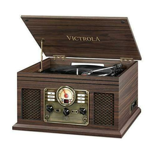 Victrola Nostalgic Classic Wood 6-in-1 Bluetooth Entertainment Turntable Center