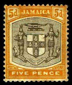 1907-Jamaica-41-Arms-of-Jamaica-OGXLH-VF-CV-67-50-ESP-3505