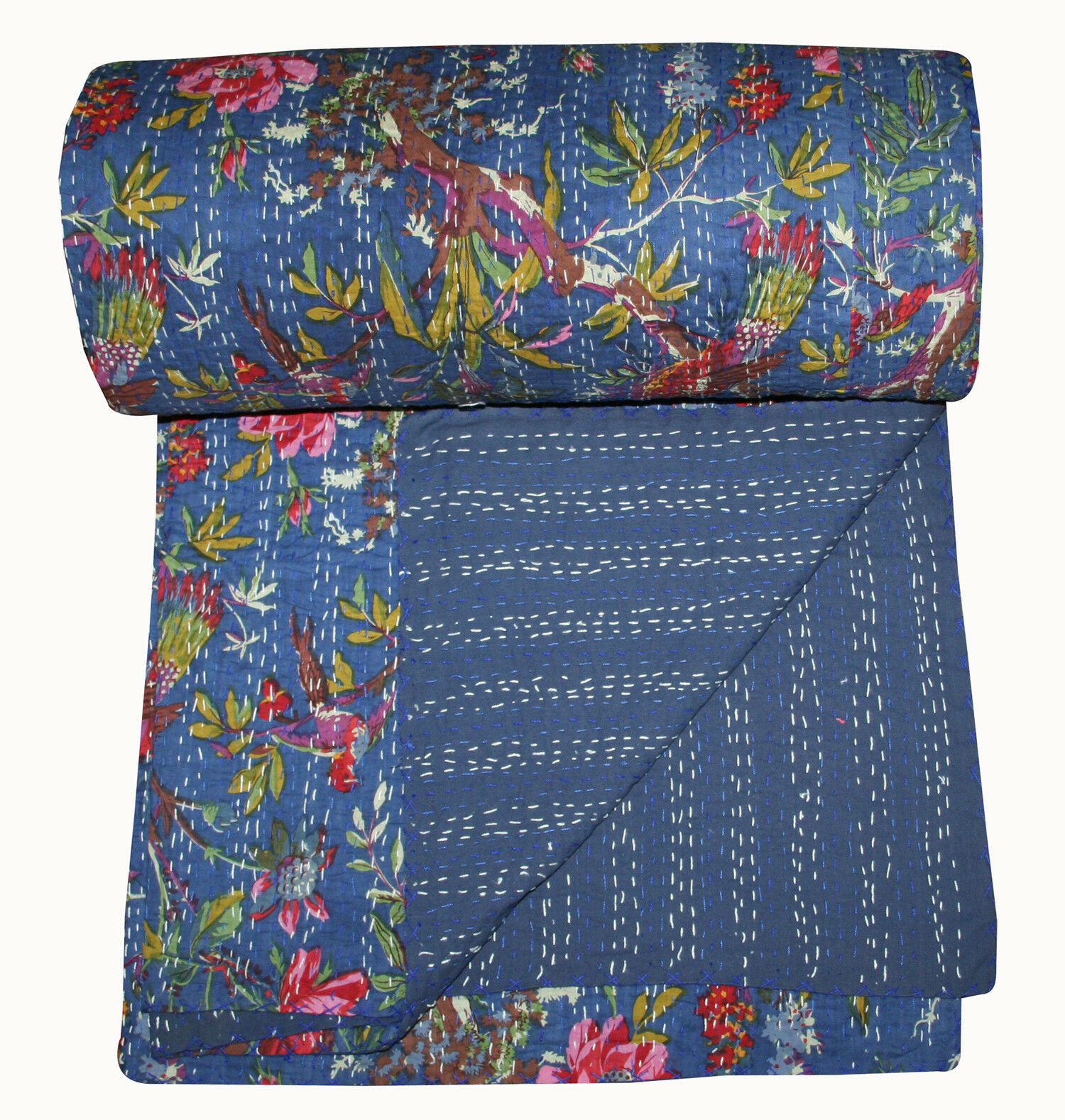 Blau Vintage Indian Blau Bird Handmade Kantha Quilt Bedspread- Queen Throw Decor