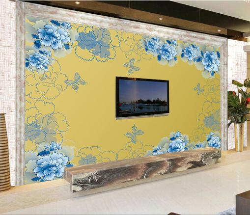 3D Blau Flower Pattern 994 Wallpaper Mural Paper Wall Print Wallpaper Murals UK