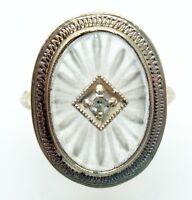 14k Gold Art Deco Filigree Genuine Natural Rock Crystal Ring w/Diamond (#2861)
