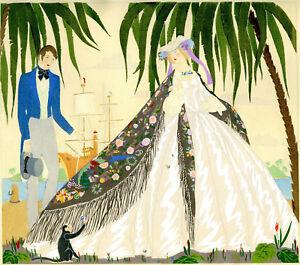 1930s-French-Pochoir-Print-Ninon-Fashion-Victorian-Lovers-Seashore-Sailship