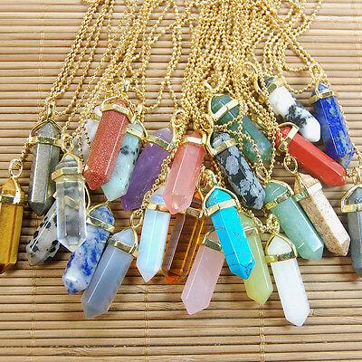 Natural Gemstones Hexagonal Point Healing Reiki 18k Gold Necklaces Pendant Beads