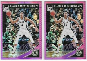 2018-19-Optic-Giannis-Antetokounmpo-Hyper-Pink-Prizm-Lot-Of-2-No-85-TI