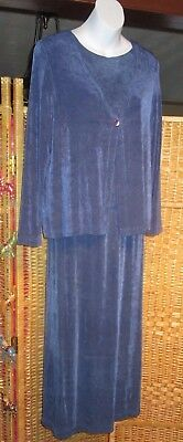 Softwear by Mark Singer Blue Slinky Travel Knit 3-Piece Skirt Suit Size S Small